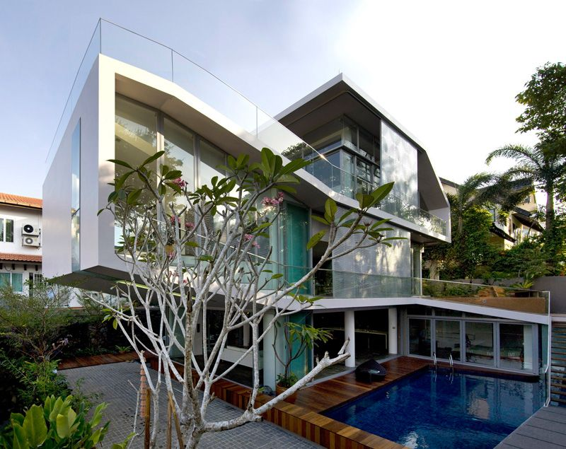 Contemporary architecure with a small pool view in gallery