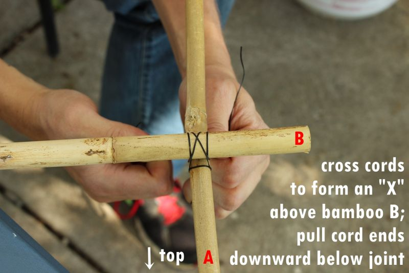 Cross the cords to form an X shape above bamboo B