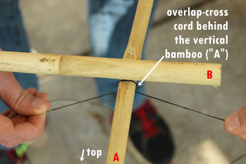 DIY Bamboo Plant Support Fence-Fold the cord in half