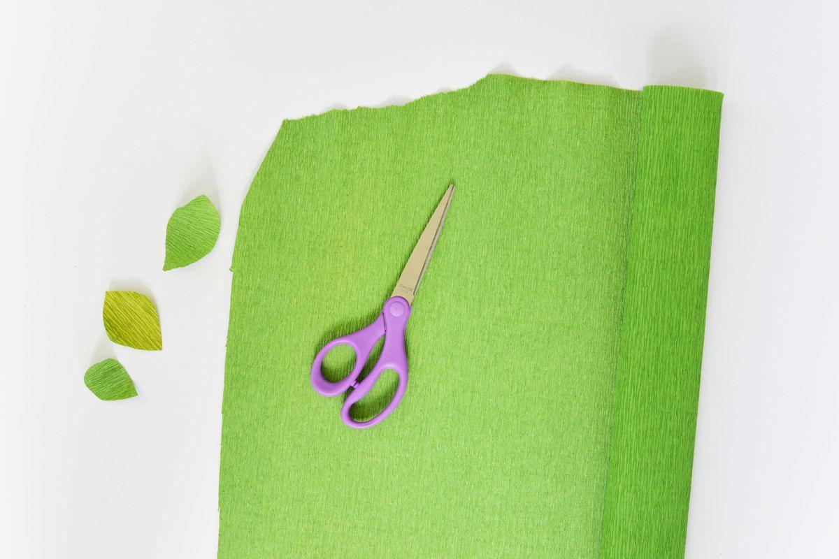 DIY Crepe Paper Leaf Branches Cut Paper