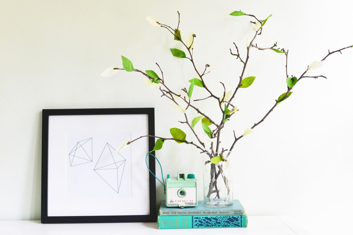 DIY Crepe Paper Leaf Branches Display