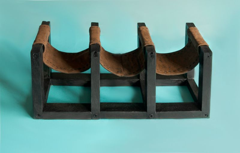 DIY Leather Sling Wine Rack Project
