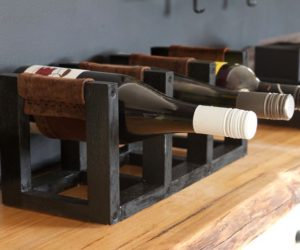 DIY Leather Sling Countertop Wine Rack