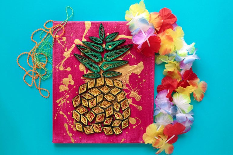 DIY Pineapple wall art craft