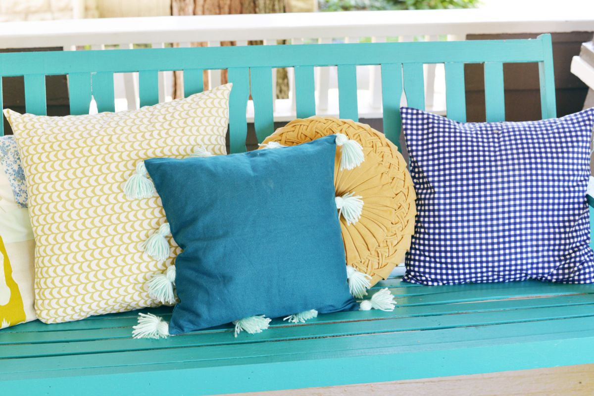 DIY Tassel Pillow Turquoise color