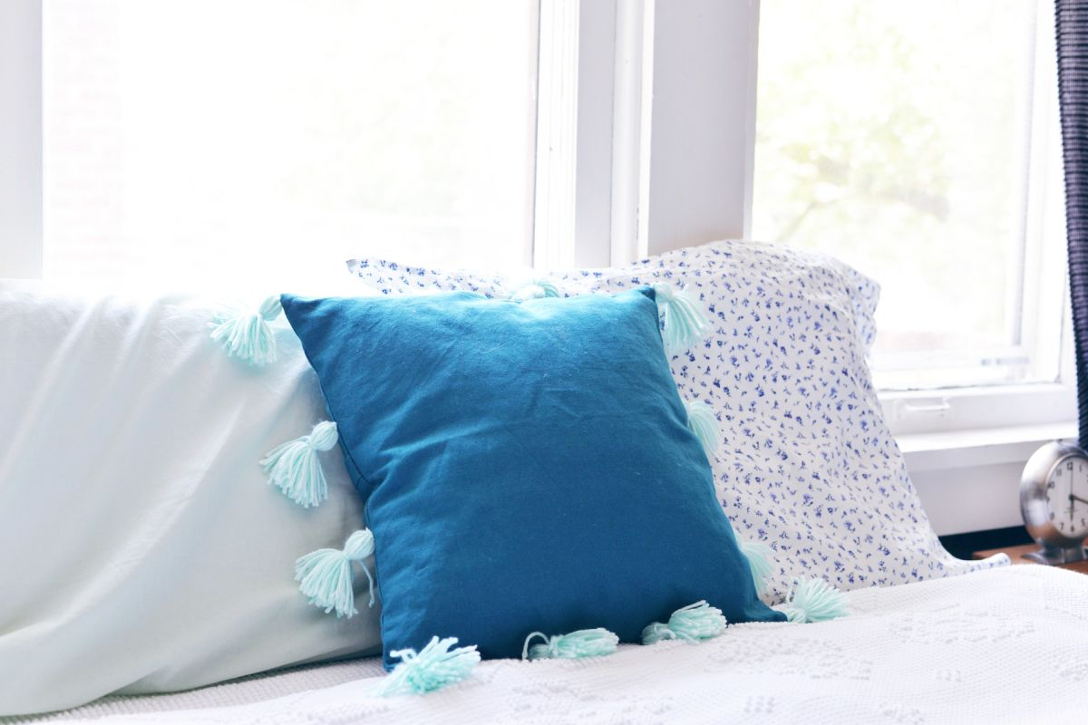 DIY Tassel Pillow colorful