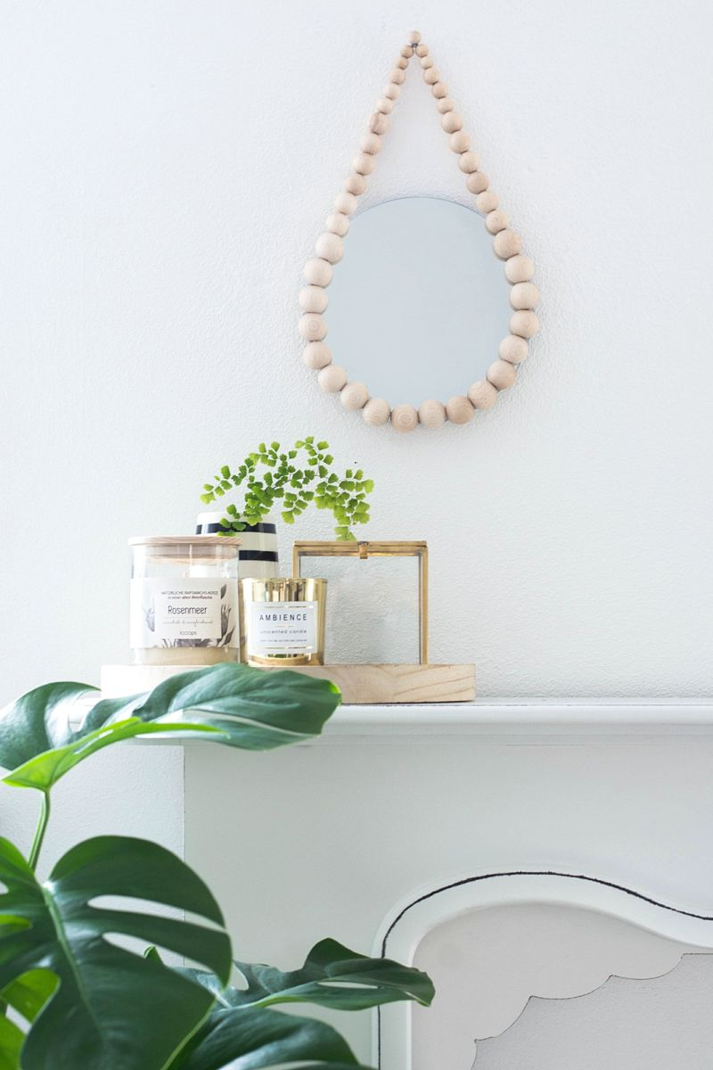 DIY beaded mirror