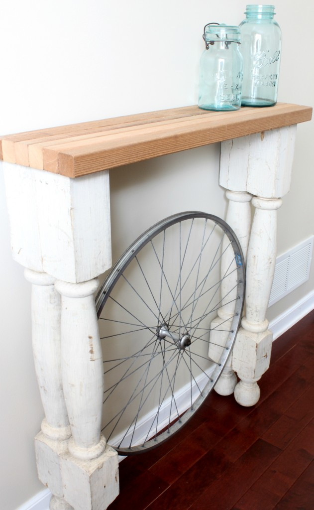 Diy furniture for a beautiful foyer diy bycicle foyer table solutioingenieria Images