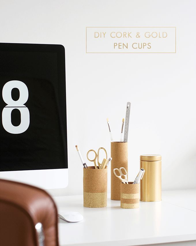 DIY cork and gold pencil cups