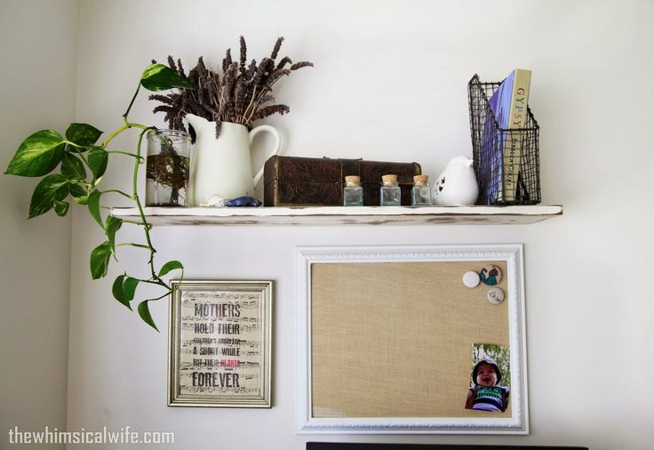 DIY rustic shelf decor