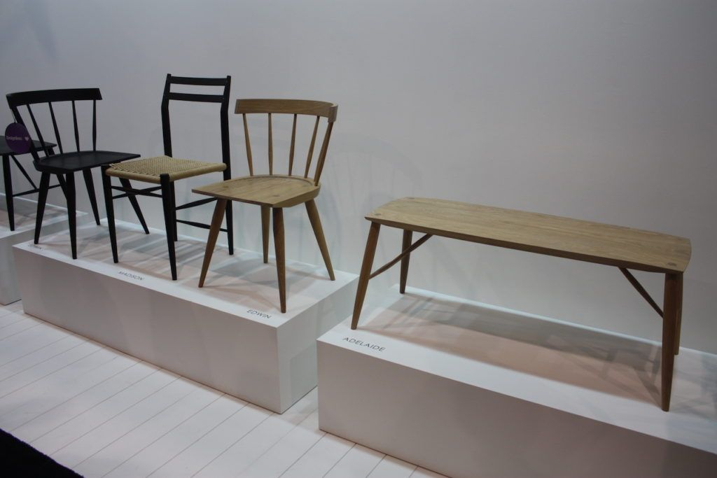 From left is Coolican's Madison chair, flanked by the Edwin chair in dark and light wood. The bench is the Adelaide.