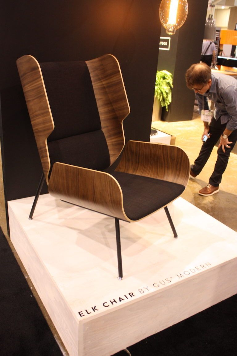 The elk chair from gus modern is a fresh take on the classic wingback design