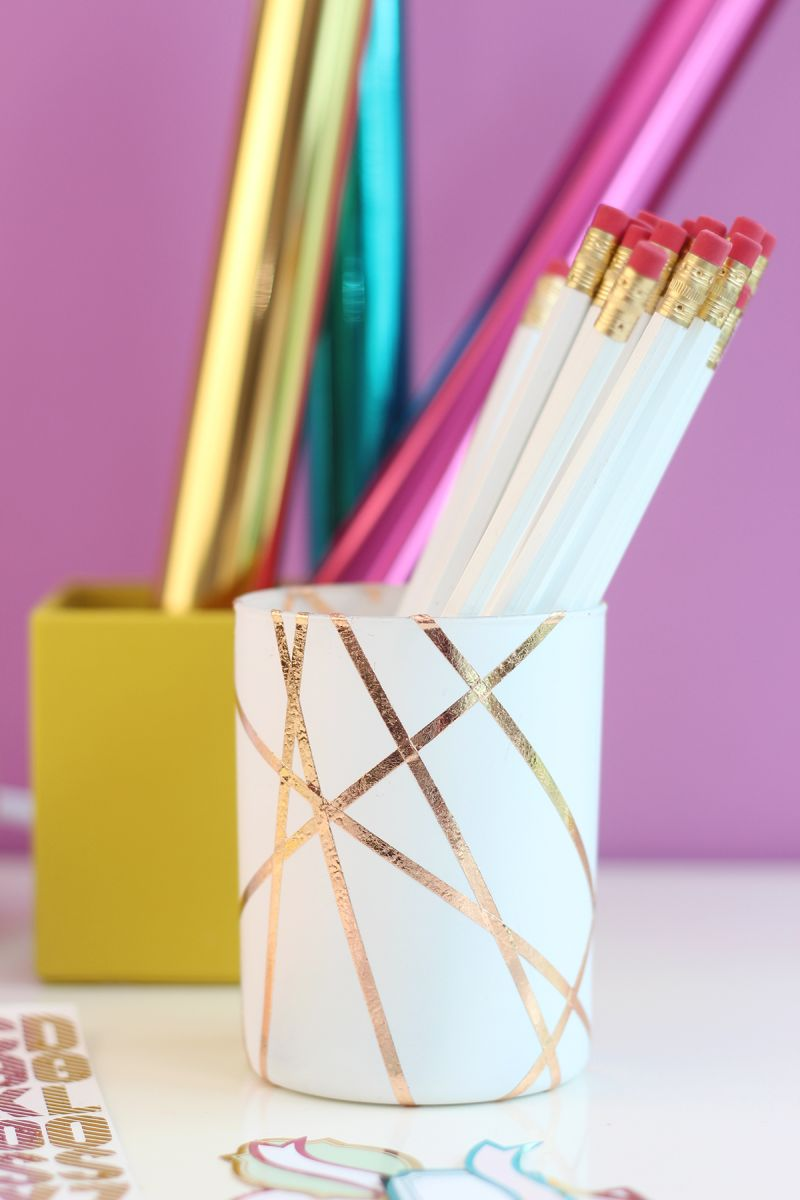 Esy tose gold foiled pencil cup