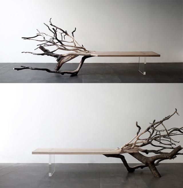 Fallen tree bench design