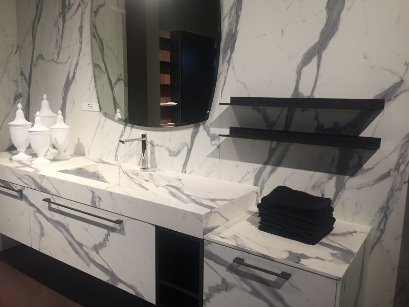 Full marble bathroom vanity with gray accents