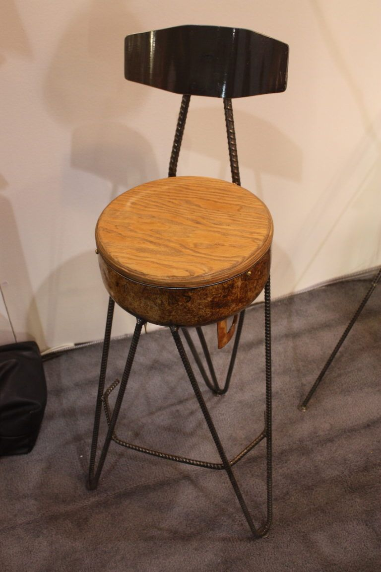 "Fullerton says his work, like this chair, should start a conversation. His pieces all have unique stories of their origins and his philosophy is to collect wasted materials and turn them into ""objects of curiosity, style and functionality."""