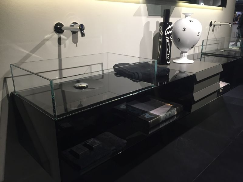 Glass bathroom sink with a sleek design