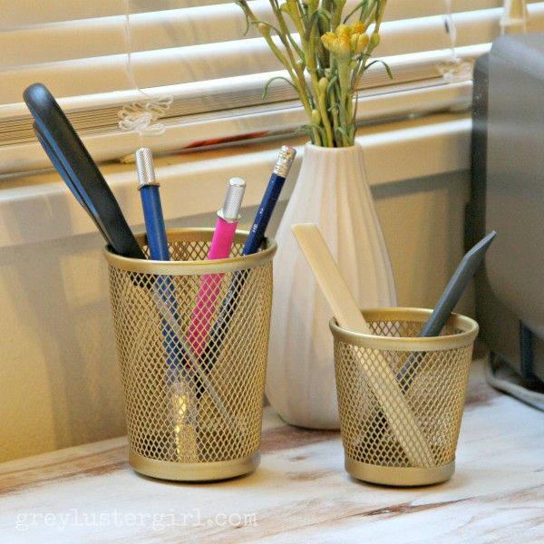 Gold spray painted pencil holder