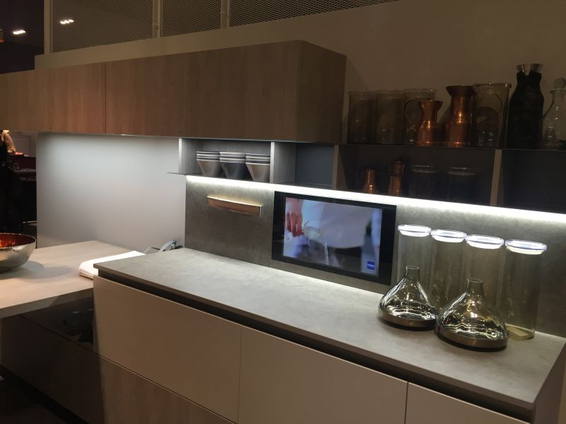 Gray kitchen design with led under cabinet lighting