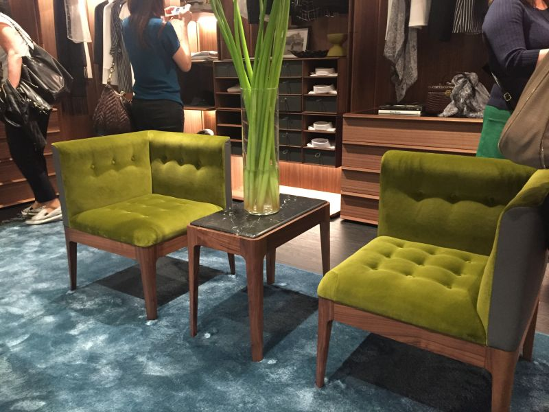 Green tufted chairs
