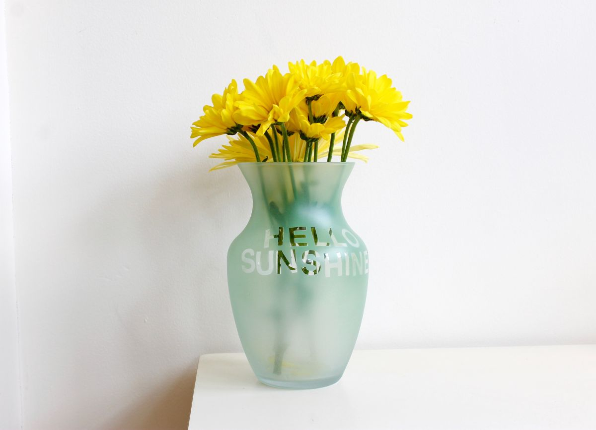 Colorful etched vases with flower puns and sayings hello sunshine colorful etched vases floridaeventfo Images