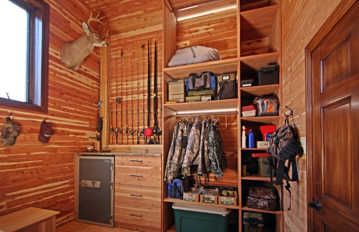 Hunting closet in a grage addition