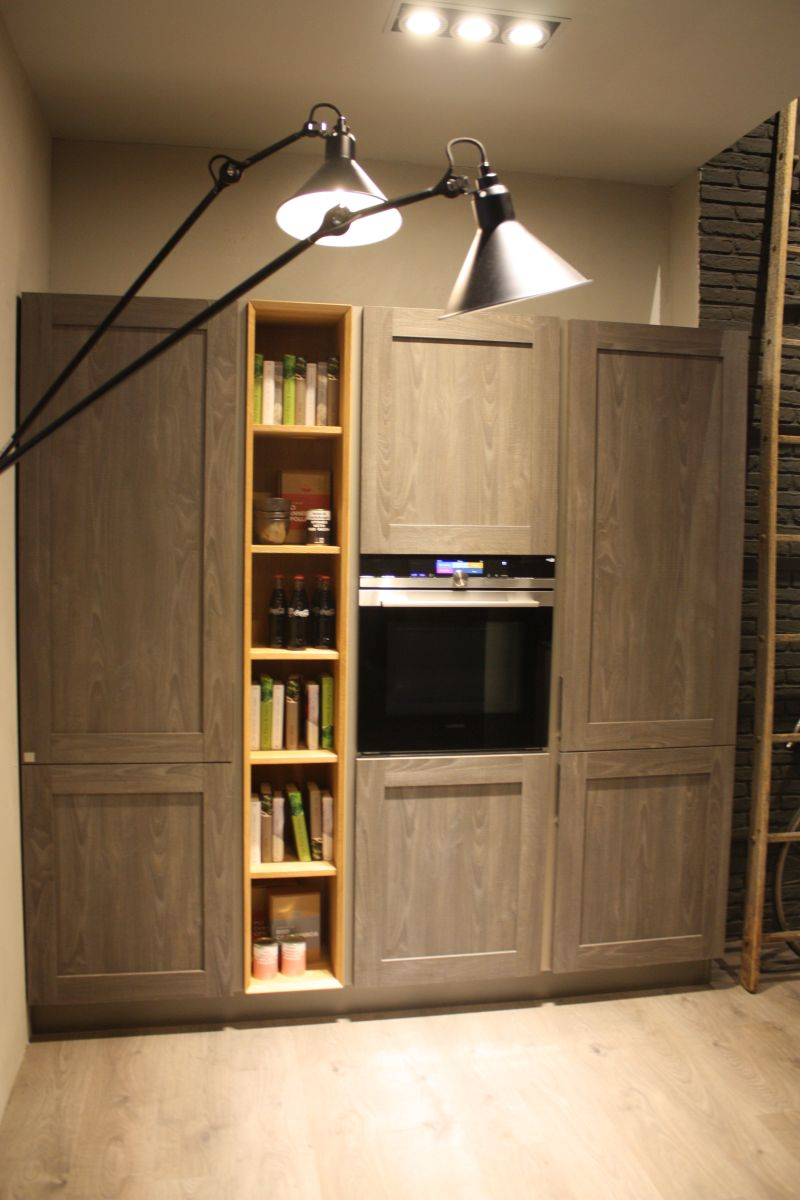 kitchen furniture for built in appliacens and open shelves