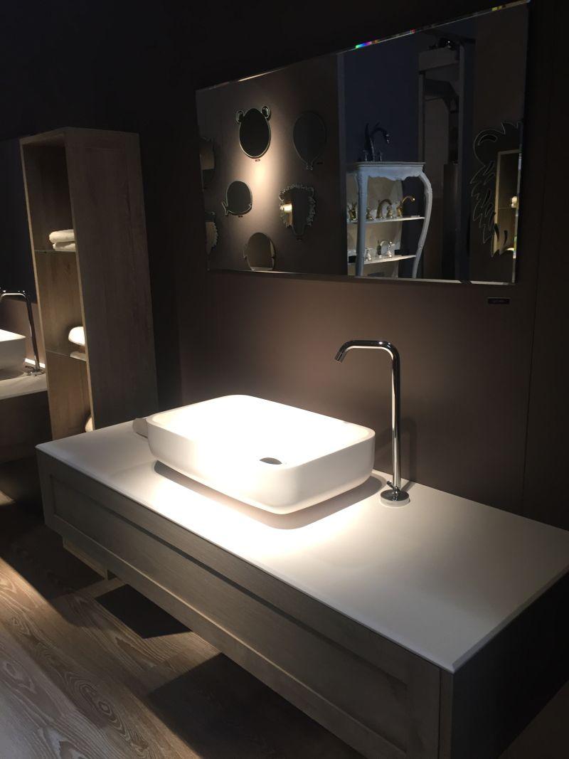 Large countertop bathroom vanity for storage