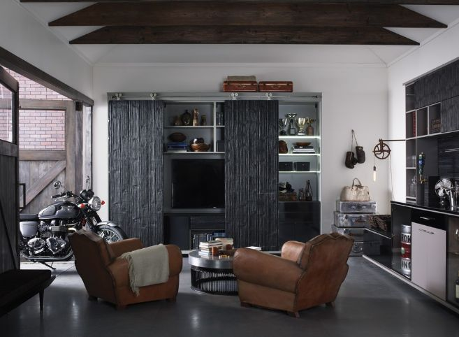 Leather mancave armchairs