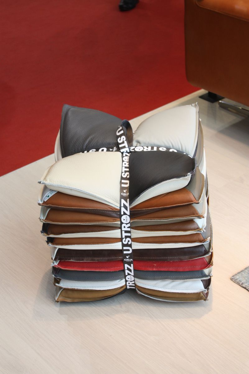 Leather pillows with a belt
