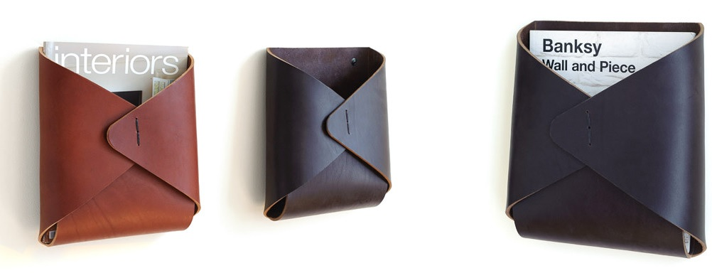 Leather wall pockets