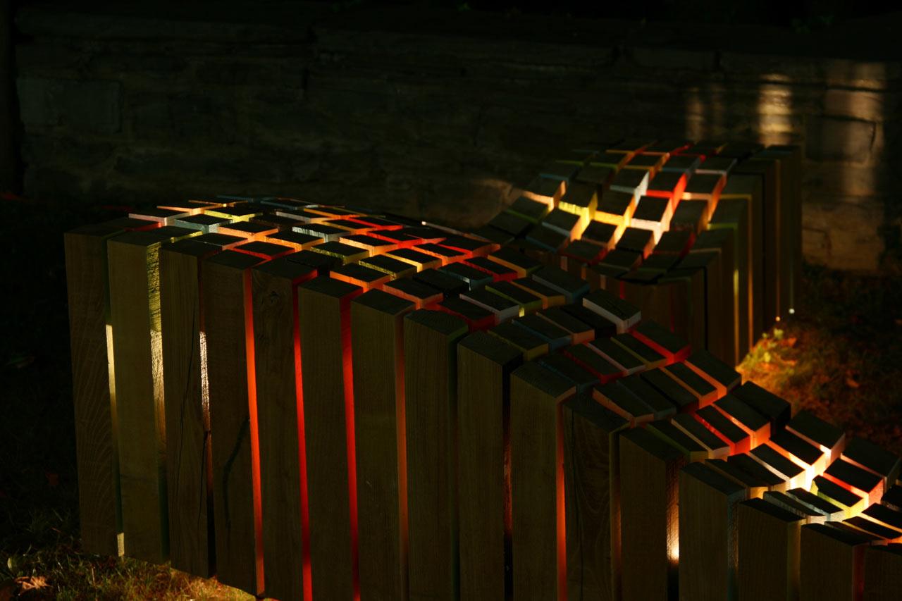 Lightwave bench design by night