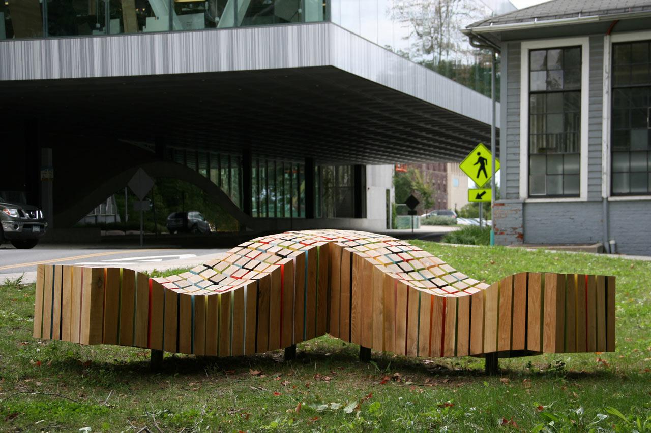 Lightwave bench design outdoor