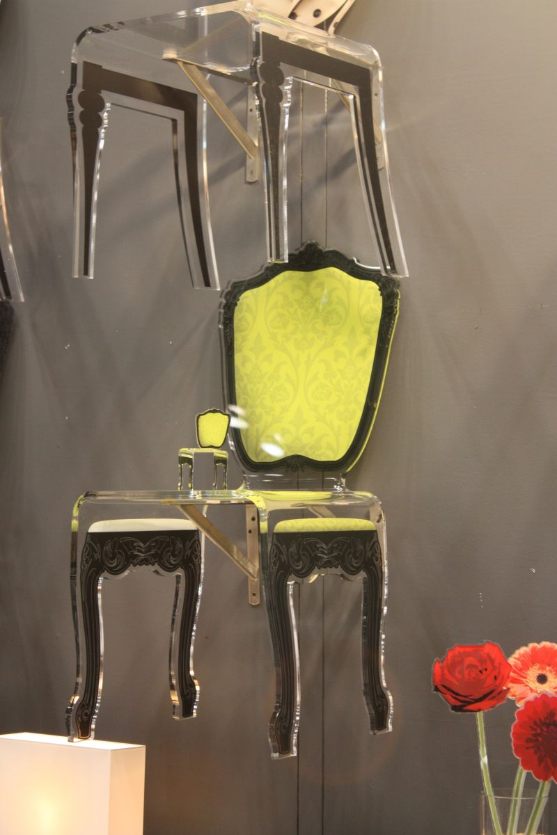 Lucite chair with chartreuse back