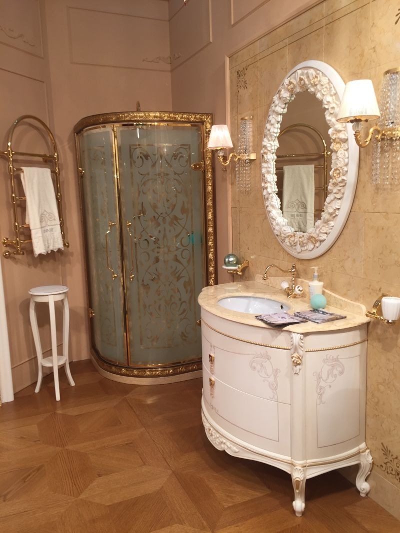 Luxury Small Bathroom With A Lot Of Gold For Rich People
