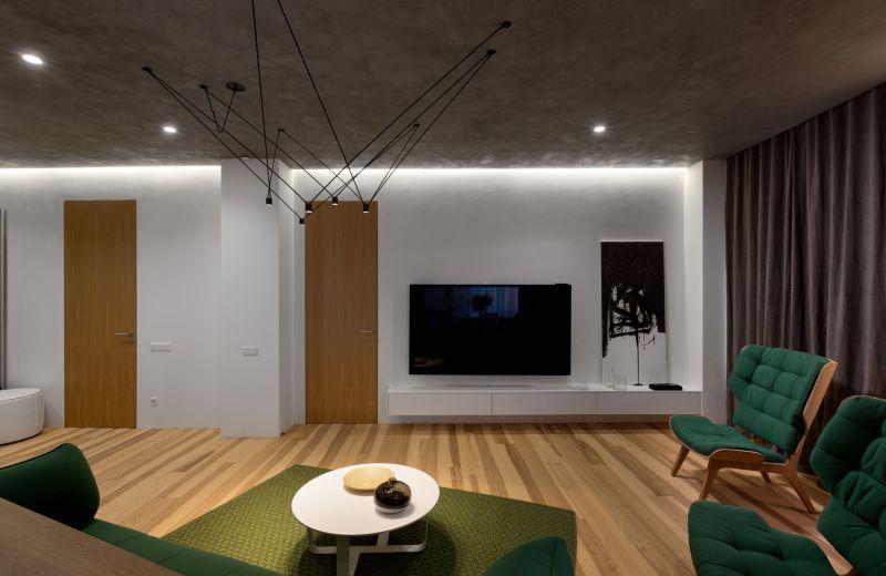 Minimalist apartment in Kiev TV wall