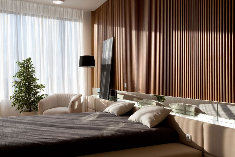 Minimalist apartment in Kiev bedroom accent wall