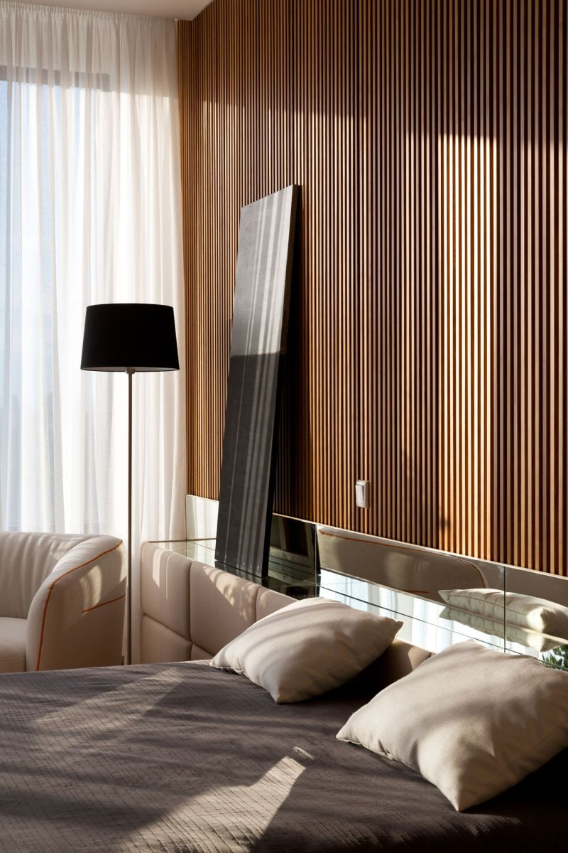 Minimalist apartment in Kiev bedroom wood accents