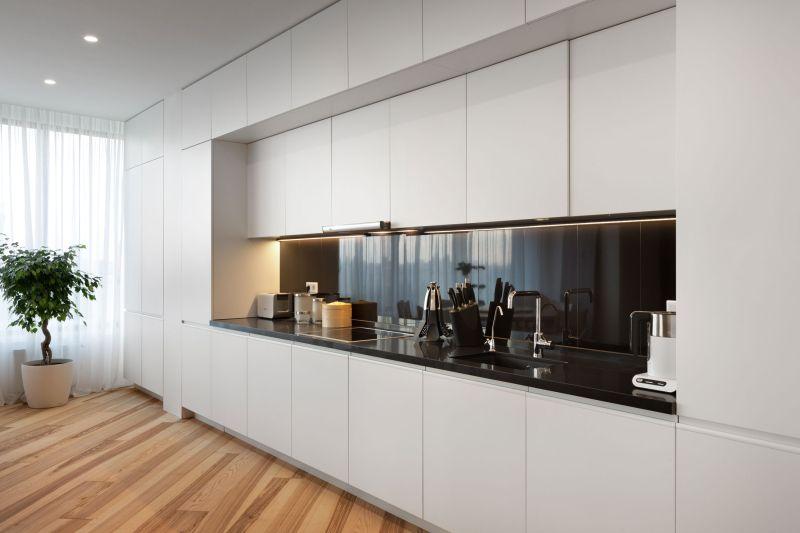 Minimalist apartment in Kiev kitchen wall unit