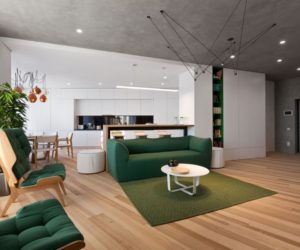 Minimalist Apartment Decorated With Shades Of Forest Green