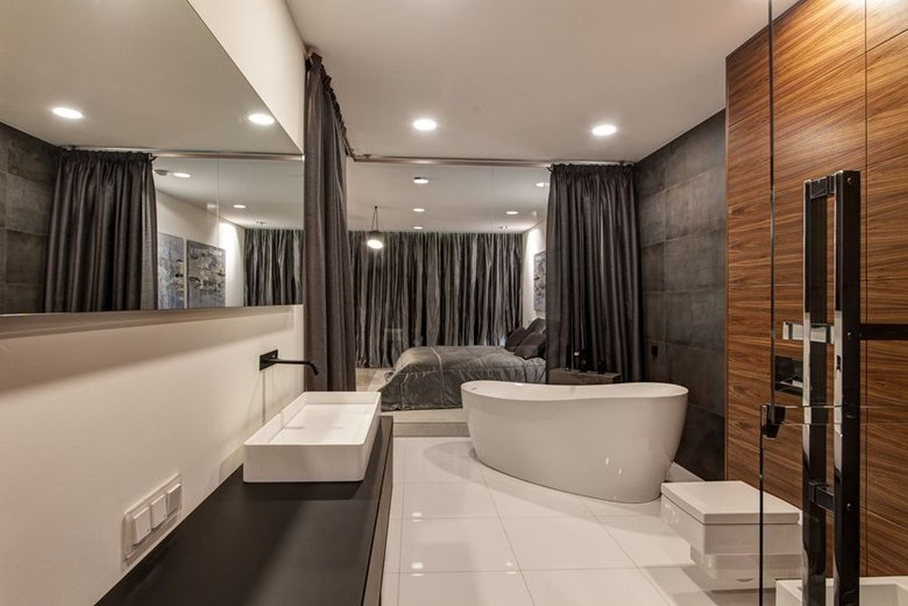 Minsk apartment by I-project bathroom tub