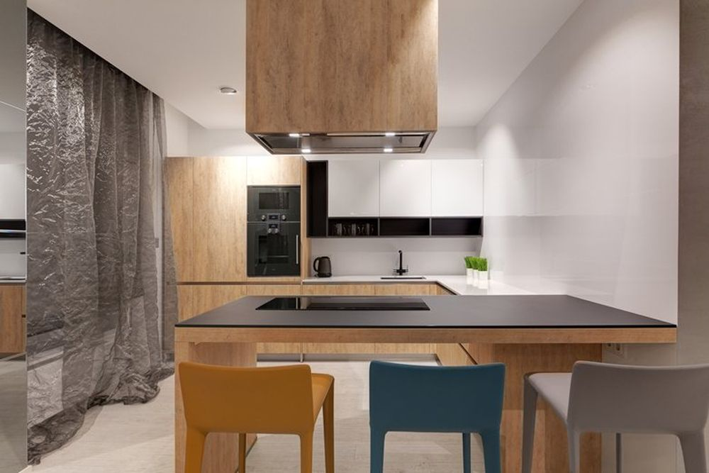 Minsk apartment by I-project kitchen bar and stools