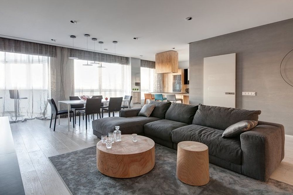 Minsk apartment by I-project living room sectional and coffee tables