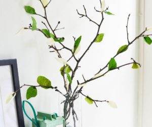 DIY Crepe Paper Flowers And Leaf Branches