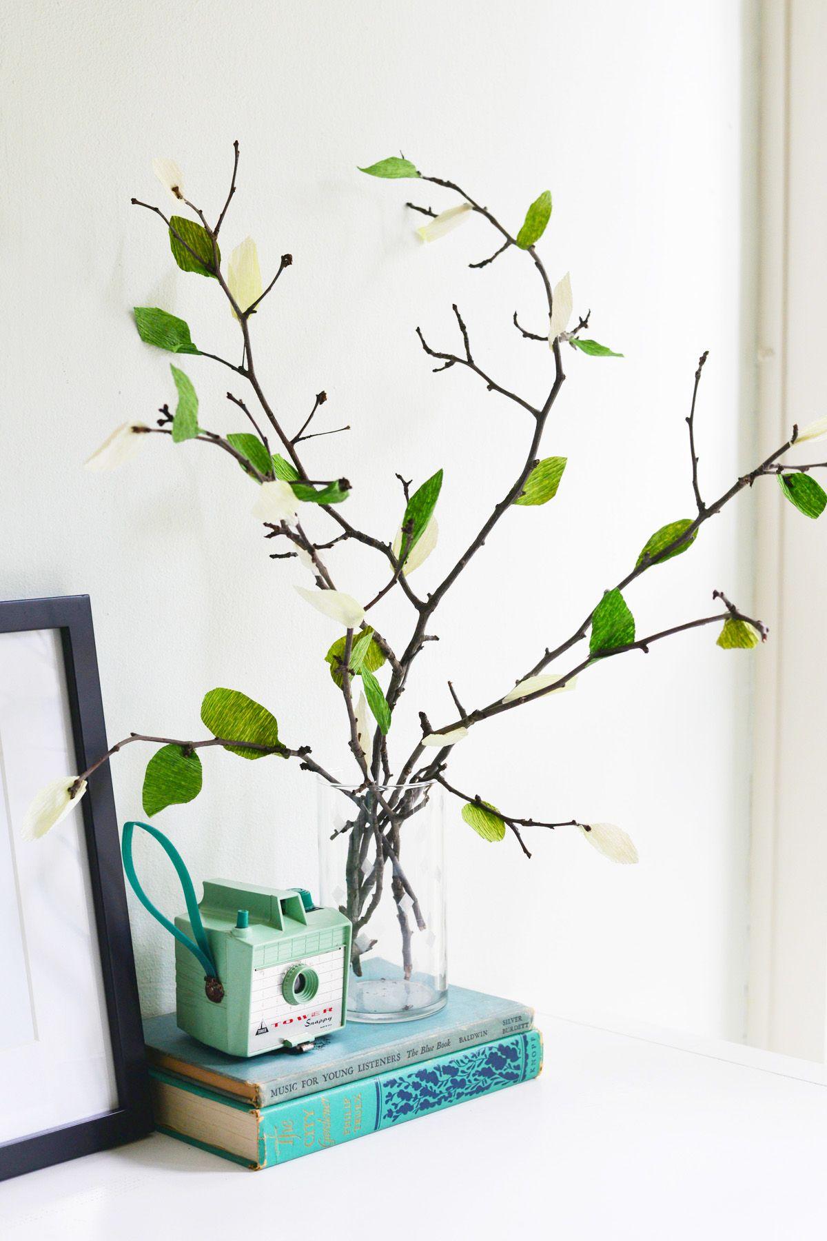 Modern DIY Crepe Paper Leaf Branches