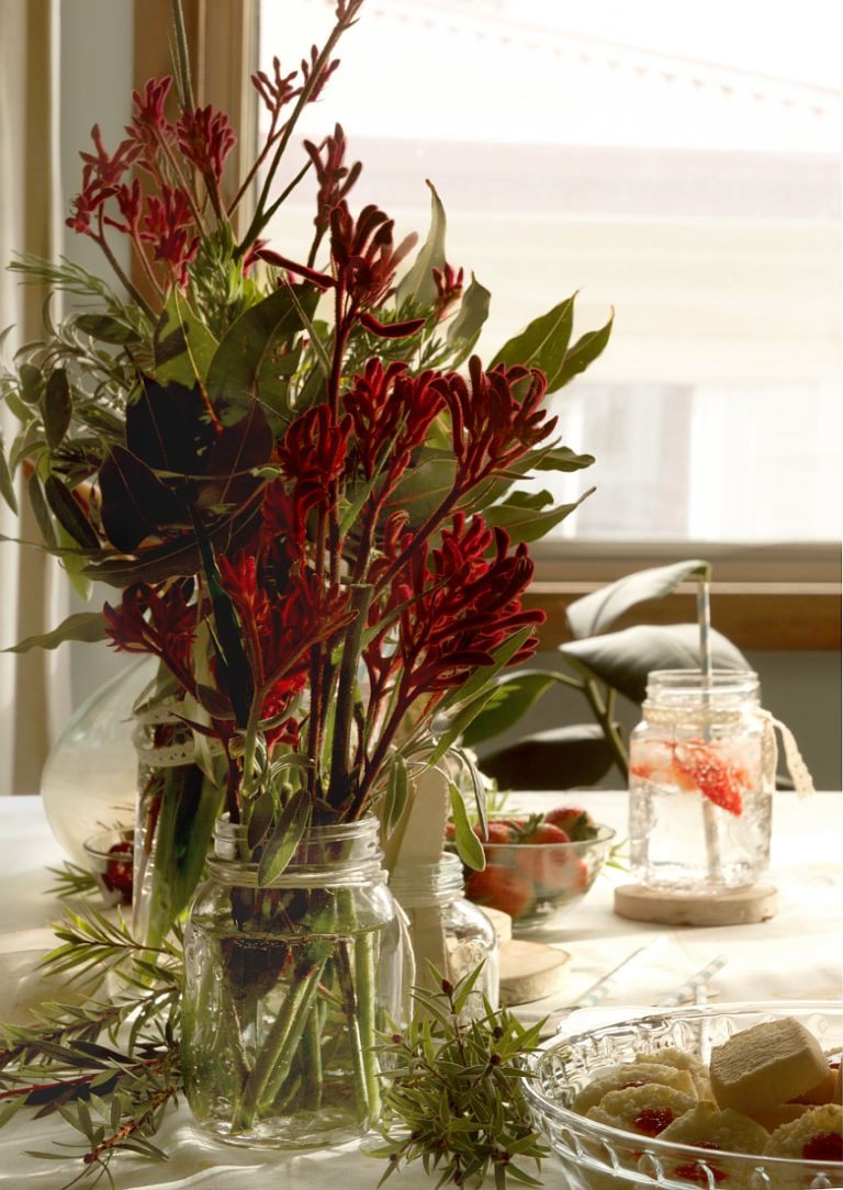 Modern mason jars centerpiece for table