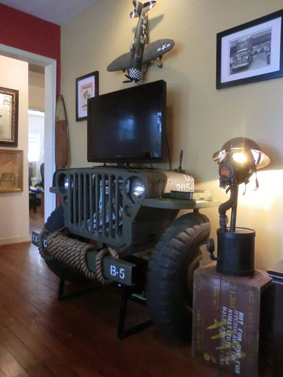 Old car jeep tv stand