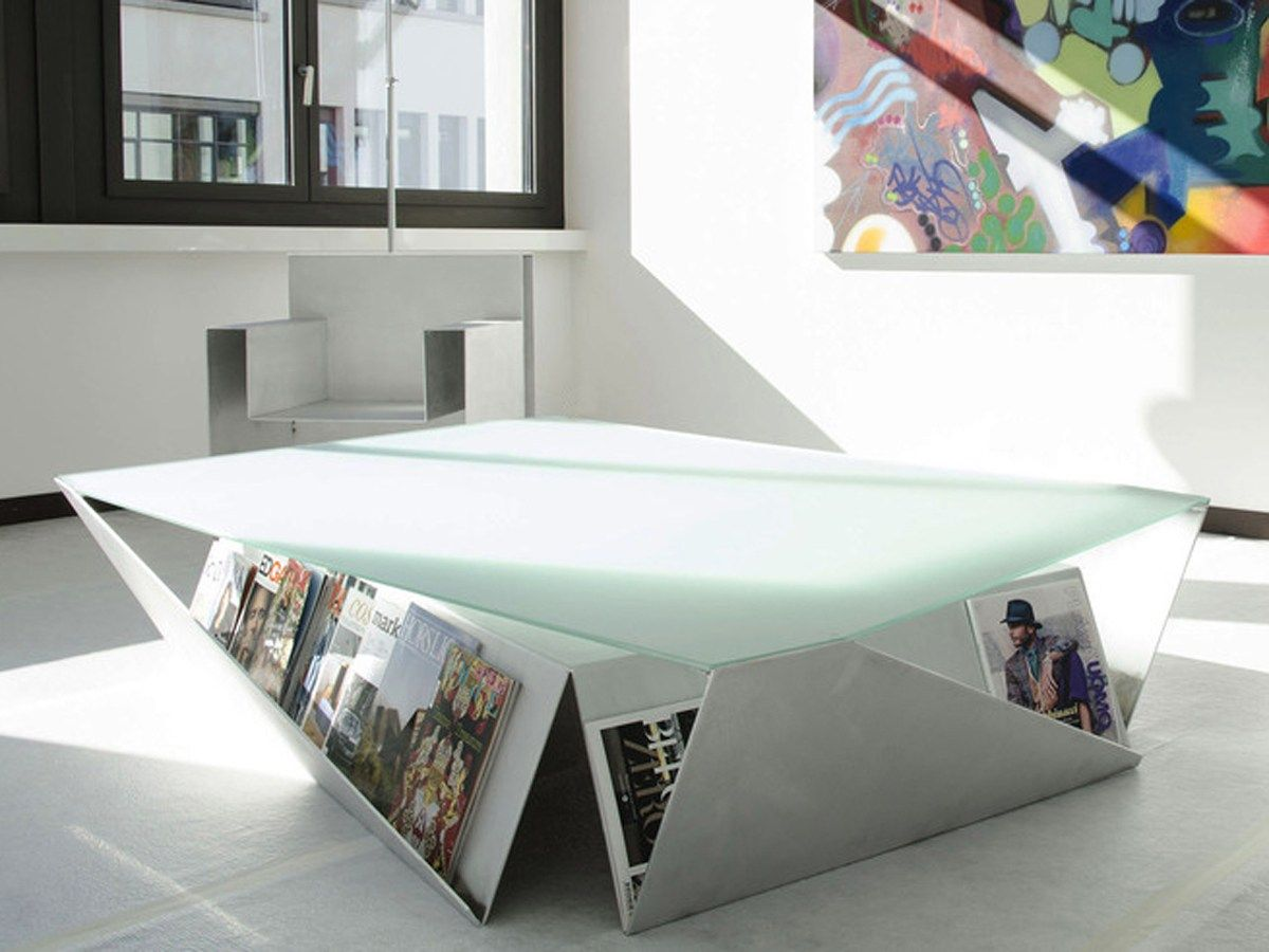Origami coffee table with magazine storage