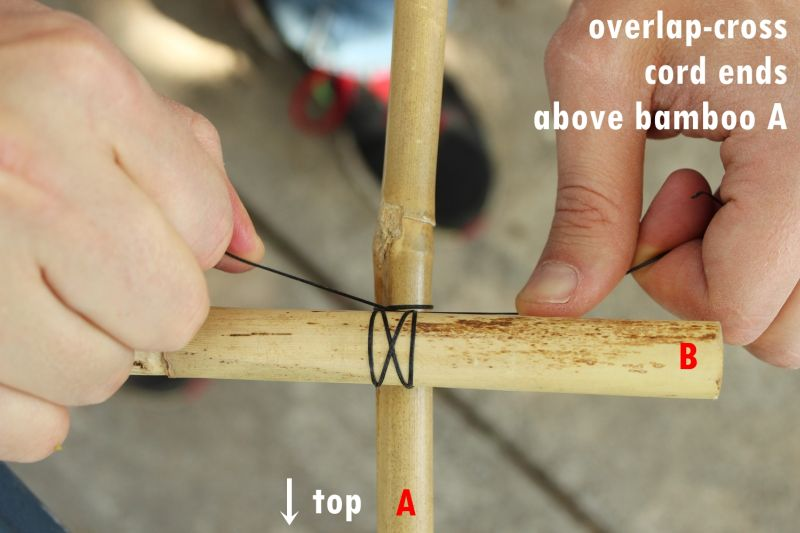 Overlap-cross the ends of the cord above bamboo A