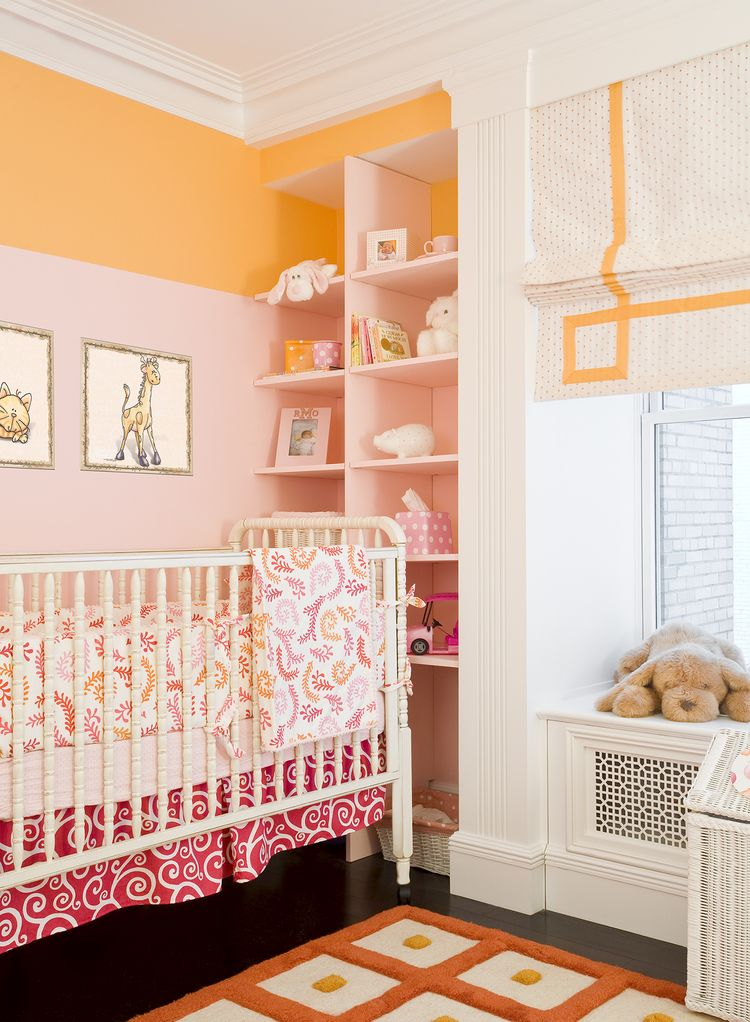 Pink and pale orange nursery